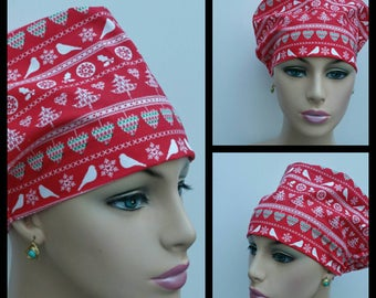 Mini - Chemo Cap - Nurses Hat - European Style -  Nordic Holiday - Snowflake Pixel Stripe- 100% cotton