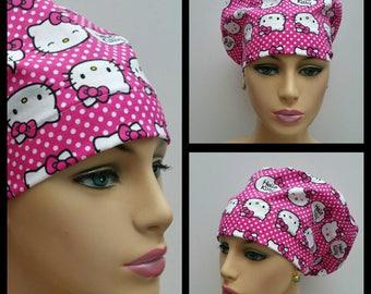 Mini - Chemo Cap - Nurses Hat - European Style - Hello Kitty over Dotted Ground - 100 % cotton
