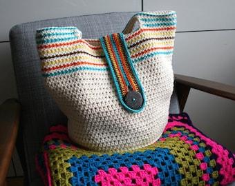 Crochet pattern, Boho summer basket, crochet color bag pattern, boho crochet purse pattern 261 Instant Download