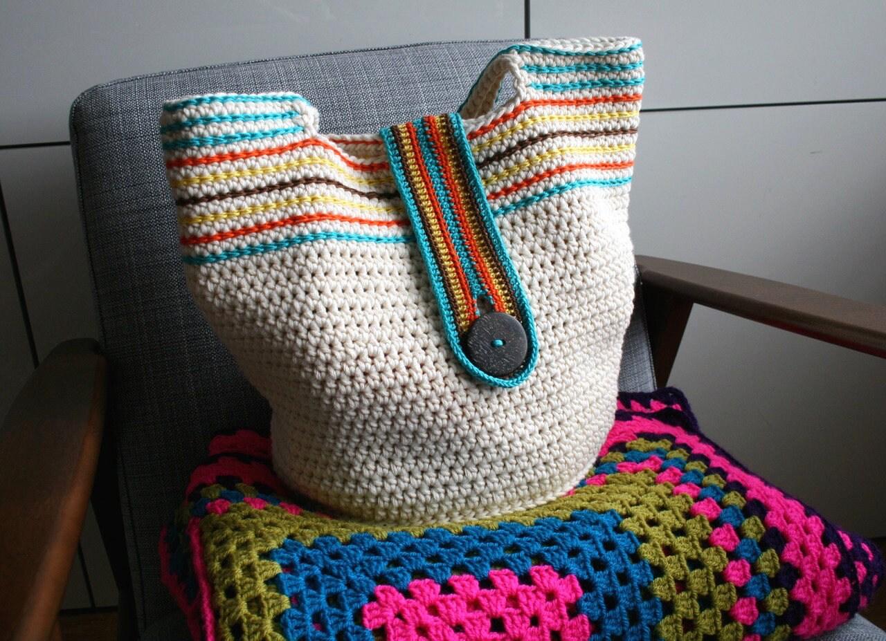 Crochet pattern Boho summer basket crochet color bag