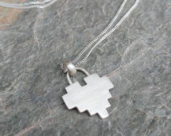 Sterling Silver 8 Bit Heart Pendant Padlock Necklace - Geek, Gamer, Zelda, Pixelated