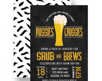 Huggies and Chuggies Baby Shower Invitation - Diaper for Brew - Party Invites - Mans Diaper Party - Chalkboard -- Printable DIY or Printing