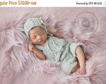 Happy Birthday sale handknitted baby overalls and hat, cables, vintage, newborn, props