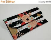 ON SALE Cash Envelope Wallet with Dividers, Coupon Holder, for use with the Dave Ramsey System -Mint Coral & Gold Floral