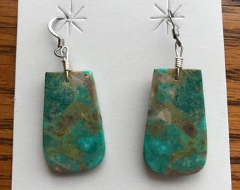 E162 - Native American Turquoise slab earrings