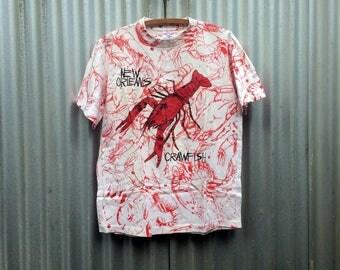Crawstaceans -- New Orleans souvenir t-shirt covered in red crustaceans -- Medium