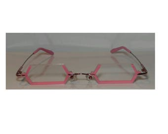 Pink angular under frame anime cosplay costume glasses.