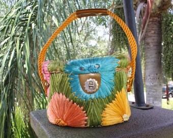 60s Retro STRAW RAFFIA PURSE Tote Handbag Sewing Bag Flowers Tiki Aloha Mid Century Tourist Hawaii Pin Up Rockabilly Basket Woven Unique