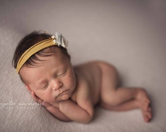 Yellow Mustard Olive tie back with soft blue accents floral tieback Newborn headband photography prop