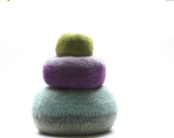 ON SALE WOOLY Felted Pod Bowls - wooly pods to put your stuff into
