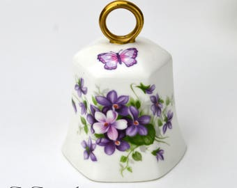 Aynsley Vintage Bone China Wild Violets Bell, English Bell With Purple Violet Flowers and Butterfly, ca. 1950