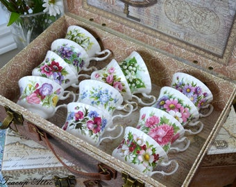 Royal Albert Flowers of the Month Complete Set, English Bone China Complete Series, ca. 1970