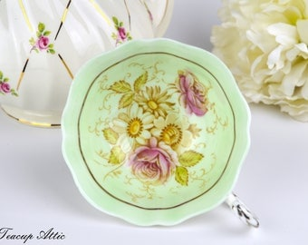 Paragon Pale Green Floral Replacement Teacup, English Bone China Tea Cup Only, Orphan Teacup, ca. 1963