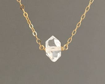 Herkimer Diamond Quartz Necklace available in gold fill, rose gold fill or silver