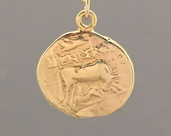 SMALL Two-Sided Ancient Coin BULL Pendant Gold Necklace - AC4