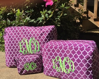 Set of Cosmetic Bags, Cosmetic Bag Set, Makeup Bags, Toiletry Bag Set, Personalized Make Up Bags, Set of Make up Bags, Bridal Party Gifts,