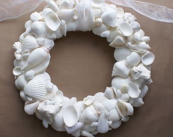 "White seashell wreath - 13"" seashell wreath - white wedding wreath - coastal decor - beach decor"