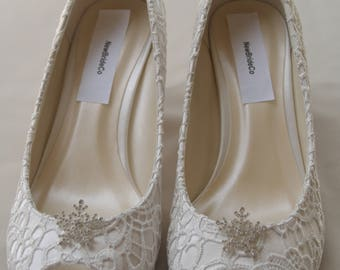 "IVORY Wedding Shoes Size 8.5, 2 1/4"" HEEL,Ivory Wedding Mid heel,Silver crystals Snow Flakes,open toe lace pumps,Bling bride,Ready to Ship"