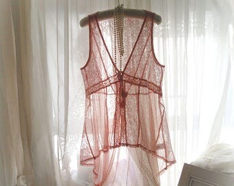 Woodland Sheer Lace Vest jacket, tank top blouse,dusty pink , drape back, hand dyed  , fairytale boho , made with antique lace, tassel tie