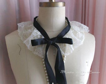 White Lace Collar cape, Victorian Dreamy black satin bow  peter pan collar Shabby Cottage Chic, goth gothic maiden made with antique lace