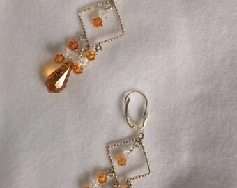 Silver, golden yellow tear drop and clear Swarovski crystal chandelier earrings - Sale