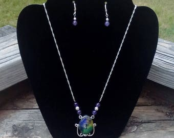 Genuine Solar Quartz Druzy Pendant with Amethyst & Sterling Silver Necklace and Earring Set