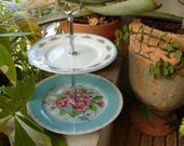 shabby pink roses & turquoise blue polka dots, small porcelain ceramic, 2 tier,sweet, muffin, cake stand