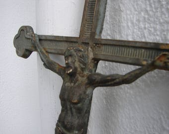 antique metal crucifix,old iron salvage,religious grave piece,cross with patina, 15.5'' h.