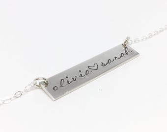 Custom Bar Necklace // Personalized // Sterling Silver