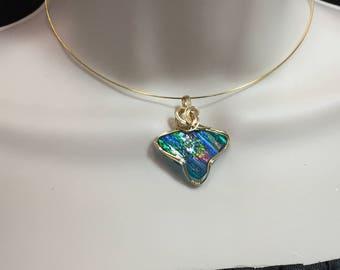 Ancient ROMAN GLASS Pendant - 14k Gold Fill- Multi colored - w/necklace RGb