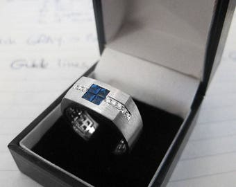 Men Ring - Art Deco Sapphires and Diamonds Men Ring - Blue Sapphire Invisible Setting