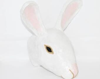 Paper Mache White Bunny Rabbit Head