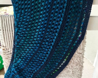 XMAS IN JULY up to 50%off New Hand Knit Shawl on shades of blue,  Light Weight Year Round in a Designer pattern