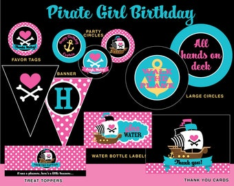INSTANT DOWNLOAD - Girl Pirate Birthday Party Package, Pirate Girl Birthday, Pink Pirate Party Printables, Pirate Printables