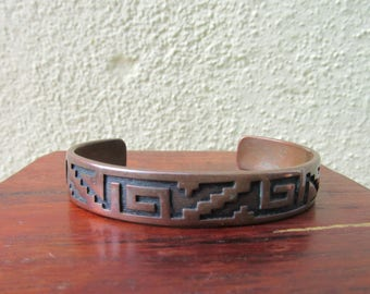 Copper Bracelet Vintage Copper Cuff Bracelet Tribal Skinny Cuff Southwestern Jewelry Adjustbale
