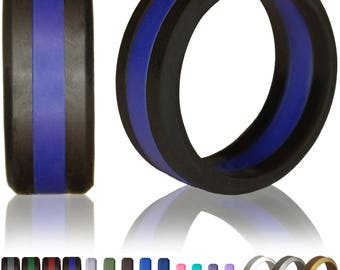 Silicone Wedding Ring by Knot Theory - Safe & Lightweight Wedding Band (Black with Blue Stripe)