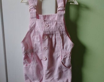 3-6 Months Vintage 80s 90s Girls Pink Adjustable Overalls Pockets Elastic Waist