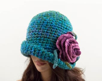 Crochet Cloche Hat with Crochet Flower - Blue and Green with Pink Flower, Size L