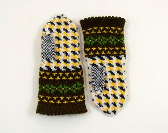 Hand Knitted Mittens - Brown, White and Black, Size Extra Small