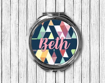 Personalized Compact Mirror, Navy Blue & Pink Triangle Design