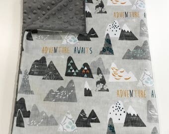 Ash Grey Adventure Awaits Mountain Baby Minky Blanket
