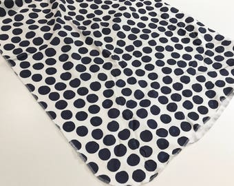 Navy Blue Watercolor Dots Organic Cotton Knit Swaddle Blanket