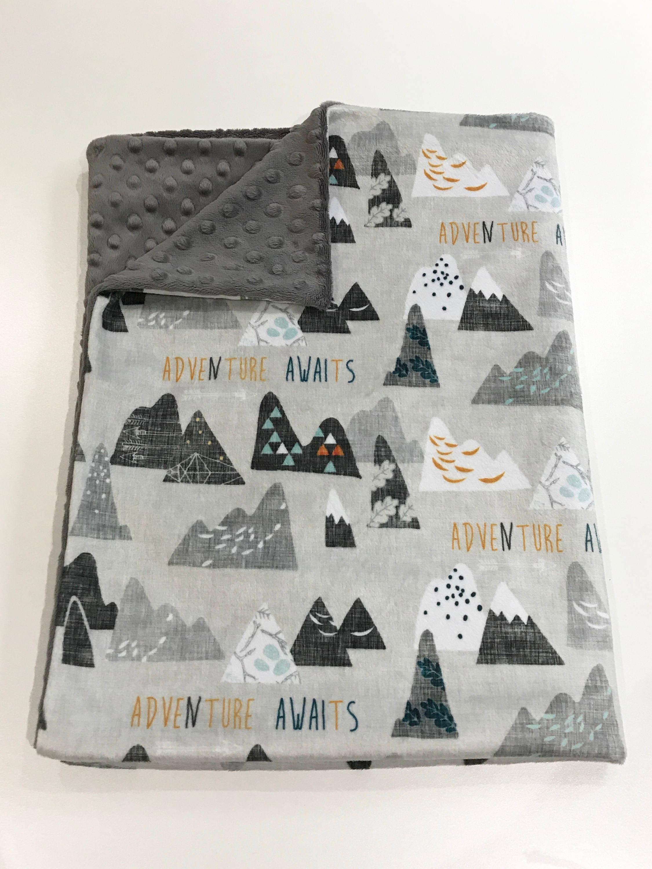 Grey mountain baby blanket arrow baby bedding baby boy for Mountain crib bedding