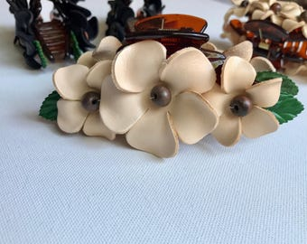 Leather flower Plumeria in large claw hair clip