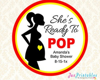 Custom Baby Shower Tags, Printable She's Ready To Pop Personalized Circle Label, Popcorn Favor Tag, Goodie Bag Labels, DIY Sticker Label