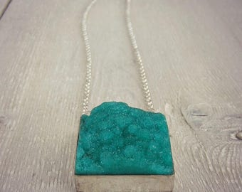Long Druzy Necklace - Green Druzy - Layering Necklace - Statement Necklace - Long Silver Necklace - Long Necklace - Long Boho Necklace