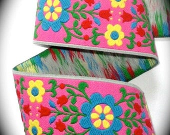 """Woven Ribbon -  2"""" x 1 1/2 yards  Pink, Blue, Green, Yellow and Red"""