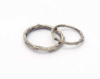 Twig wedding bands - sterling silver willow branch ring