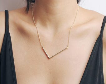 ON SALE Large V necklace - irregular V gold necklace - geometry necklace - statement necklace