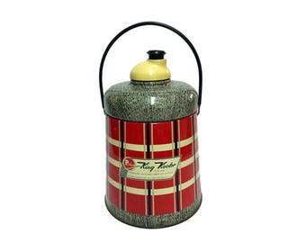 Vintage King Kooler Poloron Cooler 1950s Red Plaid Thermos Mid Century
